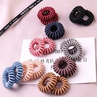 Wholesale plastic fashion girl rings resale online - Fashion Girls hair ring High Elasticity Telephone Coil hair rope Solid hair band Girl Scrunchy gum rubber Hairs accessory M1332