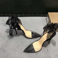 Wholesale black satin dress shoes women for sale - Group buy hot sell high quality ladies high heel transparent belt drill style dress shoes ladies fashion sexy party sandals wedding shoes