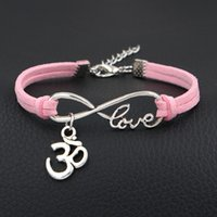ingrosso braccialetto in pelle intrecciata rosa-Punk Handmade Single Layer Light Pink Leather Suede Bracciale Donna Uomo Infinity Love 3D OM OHM Yoga Braided Bangles Donna Male Jewelry Gift