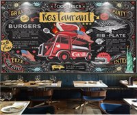 Wholesale blackboard home decor resale online - Custom Size D Photo Wallpaper Living Room Mural Gourmet Bus Blackboard Building Picture Mural Home Decor Creative Hotel Study Wall Paper D