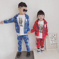 Wholesale boys pant new style resale online - Retail new boys girls camouflage football baseball tracksuit sport suits set jacket skirt pant kids luxury baby tracksuits outfits
