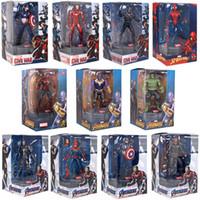 şekil standları toptan satış-Orijinal Yetkili Marvel Serisi Avengers 3 Eylem Aydınlatılmış Platformu Bankası Ekran Standı çocuklar oyuncak 11 Stiller 7 inç Süper kahraman Şekil