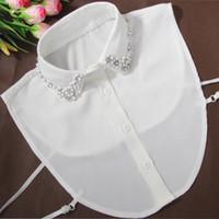 ingrosso perle bianche finte-Corea moda falso collare di perle metà falso White Collar Mezza camicia staccabile camicette del Peter Pan staccabile