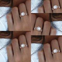 amarillo piedra anillo de oro blanco al por mayor-Mujeres Vintage plateado 24 k oro amarillo piedra lunar blanca anillos de perlas simuladas anillo de piedra de cristal señora joyería de moda D30