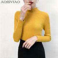 suéter negro a rayas amarillas al por mayor-Jersey de cuello alto de punto para mujer Jerseys simples para mujer Top de moda Dulces para mujer Suéteres Coreano Jumper Stripe Negro Amarillo