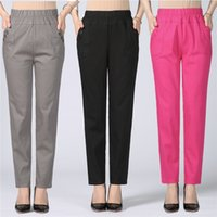 Wholesale office work trousers long resale online - Size Plus xl High Waist Stretch Long Pants Women Cotton Straight Trousers Women Pantalon Femme Work Office Ladies Pants C4315