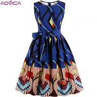 b297a610d96 Aovica S-4XL Plus Size Women African clothing Dress Sleeveless Summer  Dashiki Dresses vestidos de fiesta