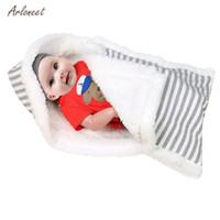 mantas de bebé caliente invierno al por mayor-2019 El invierno caliente bebé de la manta suave del bebé Saco de dormir a rayas de empañar dormir Wrap manta de cama para los recién nacidos