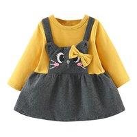 ingrosso i bambini vestono i gatti-Vendita calda Toddler Bambini Neonate Manica lunga Cartoon Cat Print Bow Party Princess Dress Dropshipping Vestiti del bambino