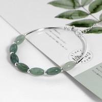 ovalo de jade al por mayor-Ruifan Genuino 925 Pulseras de Plata de ley Hembra Verde Jade Verde Oval Gota de Agua Encantos Del Grano Pulsera Joyería Ybr098 T190703