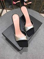 yüksek topuklu plaj flip flop toptan satış-Kadınlar tasarımcı ayakkabı kauçuk sandalet ayakkabı plaj ince kemer kombinasyonu çizgili terlikler terlik ince yüksek topuklu