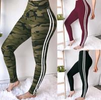 Wholesale women yoga pants white online - Women Camo Print pants Skinny Yoga White Striped Camouflage Sport Trousers Summer Slimming sport pants LJJK1387