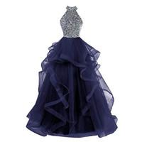 gerdanlıksız gerdanlık mezuniyet elbisesi toptan satış-Romantik Backless Gelinlik Modelleri A Hattı Kat Uzunluk Örgün Abiye giyim Törenlerinde Net / Tül Boncuk Kristal Parti Balo Abiye Mezuniyet Elbiseleri