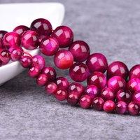 edelsteine perlen halskette großhandel-Rose Tigerauge Natürlichen Edelstein 6 8 10 12 MM Runde Lose Perlen für Frauen DIY Armband Halskette Schmuckherstellung