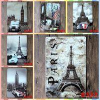 ingrosso asciugamano artigianato-PARIS Elfel Towel 20 * 30cm Iron Wall Paint Poster Home Decor Targa in metallo Vintage Decor Graphic Tablet Artigianato Forniture in metallo art