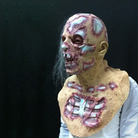 Discount zombie costumes for women Halloween Prop Walking Dead Latex Mask Full Head Horror Zombie Masks Costume Party Decoration AN88 T200703
