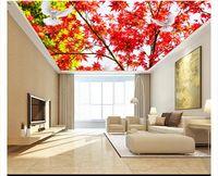 güzel yapraklar toptan satış-Özel 3D büyük zenith duvar fotoğraf kağıdı Güzel akçaağaç yaprağı kırmızı yapraklar oturma odası tavan zenith arka plan duvar iç dekorasyon