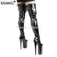 botas sexy de couro preto venda por atacado-Patente couro KALMALL Black Red White sexy de salto Fetish exóticas Pole Dancer Stripper sapatos Zip Strappy Plataforma Coxa botas altas