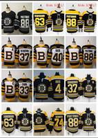 ingrosso pullover di hockey su ghiaccio-Uomini Bambini Donne 2019 stanley cup Boston Bruins # 4 ORR # 33 CHAPA # 40 RASK # 46 KREJCI # 73 MCAVOY # 88 PASTRNAK Maglia da calcio nera bianca Hockey Ice