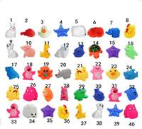 ingrosso anatre di gomma animale-Baby Bath Toys Acqua Galleggiante piscina Bambole Animali Cartoon Anatre gialle Starfish Bambini Swiming Beach Rubber Toy Regali per bambini