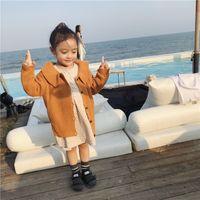 ingrosso ragazza di primavera del rivestimento di stile coreano-2019 Primavera moda stile coreano ragazze risvolto colletto maglioni cardigan bambini cotone carino girocollo maglione giacche