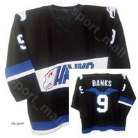 schwarze falken trikots großhandel-Mighty Ducks Movie Hawks Eishockey Adam Banks Trikot 9 Herren Team Farbe Schwarz All Stitched Sport Gute Qualität