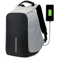 macbook sac à dos ordinateur portable 15 pouces achat en gros de-15,6 pouces Sac à dos pour ordinateur portable USB de charge antivol Sac à dos Sac à dos Hommes Voyage Sac d'école imperméable Homme Mochila