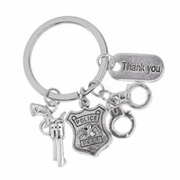 Wholesale keyring guns for sale - Group buy Thank You Keychain Thank You Alphabet Gun Handcuffs Badge Keyring DIY Creative Women Men Jewelry Thanksgiving Gift
