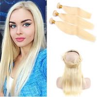 rus yığını insan saçı toptan satış-# 613 Sarışın Düz İnsan Saç Demetleri ile 360 Kapatma Rus Bleach Sarışın İnsan Saç 360 Dantel Frontal Kapatma 22.5x4x2 ile örgüleri