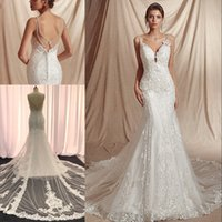 Wholesale sexy wedding dress patterns resale online - Sexy V Neck Backless Mermaid Wedding Dresses Spaghetti Straps Vintage Lace Pearls Beading Pattern Sleeveless Bride Gowns