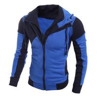 Wholesale man blue hoody for sale - Group buy Men Fashion Jackets Long Sleeve Hoody Jacket Coat Long Sleeve Zipper Cardigan Blue Jackets Autumn Tops