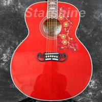 guitarra electrica bricolaje solido al por mayor-Guitarra acústica eléctrica Starshine ZZF-J200R Jumbo 43 '' Tapa de abeto macizo, Arce flameado en la parte posterior, Tuerca de hueso Grover Tuner Fishman 101