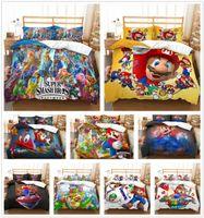 çocuklar karikatür yatak takımları toptan satış-Özelleştirilmiş 3D Süper Mario Kardeşler Yatak Seti Nevresim Yorgan Kapağı Çocuklar