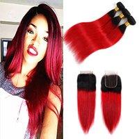düz kırmızı saç uzantıları toptan satış-Hint Bakire Saç Uzantıları 3 Demetleri Ile 4X4 Dantel Kapatma 1B / Kırmızı Düz Saç Atkı Kapatma Orta Üç Ücretsiz Bölüm 1B Kırmızı