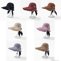 Wholesale foldable big sun hat resale online - Bow hat cotton line knit foldable big fisherman hat female summer sun hat Designer Ladies hats