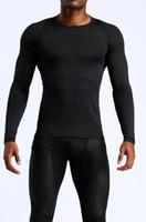 camisa preta fina t mans venda por atacado-T-shirt dos homens Europa EUA correndo roupas de fitness de secagem rápida sportswear de mangas compridas compressão treinamento stretch calças justas ghfgh preto