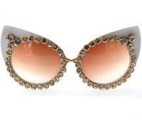 copos harajuku venda por atacado-Designer de óculos de sol das mulheres diamante óculos de férias à beira-mar protetor solar óculos de sol Harajuku retro olhos de gato frete grátis 0722