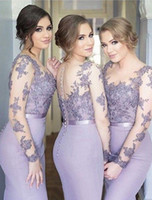illusion back gowns großhandel-New Lilac Brautjungfernkleider Mermaid Sheer Neck Long Sleeves Sweep Zug Brautjungfern Kleider Mit Spitze Applique Illusion Zurück Formal