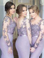 vestidos lilas para damas de honor al por mayor-Nuevos Vestidos de dama de honor de color lila Sirena Cuello transparente Mangas largas Barrer Tren Vestidos de dama de honor con apliques de encaje Ilusión Volver Formal