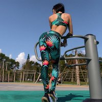 Wholesale cool gym clothes for sale - Group buy GXQIL Cool Sportswear Woman Printing Gym Clothing Dry Fit Fitness Suit Women Yoga Set Workout Clothes Green Breathable New