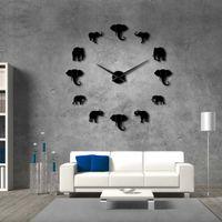 Wholesale modern elephant decor for sale - Group buy 37inch Jungle Animals Elephant DIY Large Wall Clock Home Decor Modern Design Mirror Effect Giant Frameless Elephants DIY Clock Watch