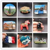 ingrosso paesaggistica europea-Memoriale europeo del turismo Frigorifero Magnete Paesaggio 3D Frigo Sticker Viaggi Souvenir Home Decoration Accessori da cucina PPA190