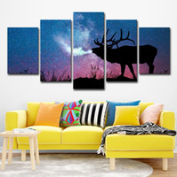 arte de la pared de impresión grande al por mayor-HD Impreso 5 Piezas Lona Art Stag In Starry Night Gran 5 Panel Canvas Art Wall Pictures para la Sala de estar
