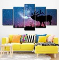 ingrosso tela di notte stellata-HD stampato 5 pezzo su tela Stag In notte stellata Grande 5 pannelli su tela immagini a parete per soggiorno