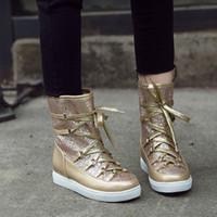 media bota de seguridad al por mayor-Venta caliente-Neoarry Lace Up Thick Plush Warm Botas de mujer Casual Ladies Boots Zapatos Zapatos de seguridad de trabajo Mitad para mujer Snow T948