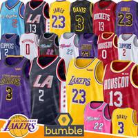 malhas de foguetes venda por atacado-Basquetebol de Los Angeles 23 Jerseys de LeBron James Kawhi Clippers Leonard Russell Endurecer Westbrook Jimmy Rockets Mordomo 3 Anthony Davis George