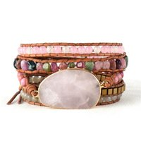 lederarmband dropship großhandel-Native Inspired Beads Lederarmband Turmalin Pink Quartz 5 Stränge Woven Wrap Armbänder Bohemian Bracelet Dropship