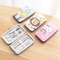 accesorios de maquillaje al por mayor-Manicura conjunto de dibujos animados 7pcs / set de manicura pedicura Clipper Kit de uñas de arte Cuidado León gato Maquillaje Belleza Accesorios HHA792