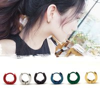 Wholesale gold colored stainless steel resale online - 2019 Hot Fashion Small Hoop Earrings Silver Gold Stainless Steel Round Earring Women Men Acrylic Ear Rings Clip Colored Circle