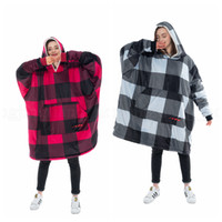 Wholesale super plus clothing resale online - Cozy Plaid Sherpa Hooded Blankets Colors Super Soft Comfortable Adults Hood Large Pocket Oversized Sweatshirts Home Clothing OOA6057